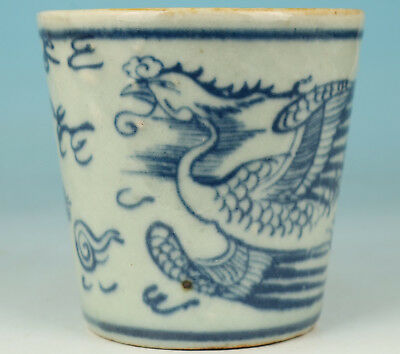 Chinese Old Porcelain Collection Handmade Painting Phoenix Statue Tea Cup Bowl