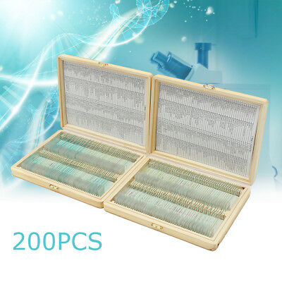 200Pcs Lab Glass Prepared Microscope Slides Anatomy Botany  Wooden Case PS200A