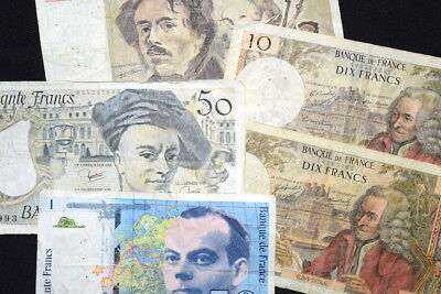 Lot of FIVE MIXED BANKNOTES From FRANCE- 1970's; 80's and 1994