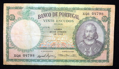 Scarce 1959 20 ESCUDOS BANKNOTE From PORTUGAL