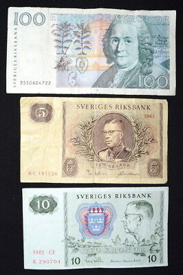 Lot of MIXED BANKNOTES From SWEDEN- 1961, 1980's