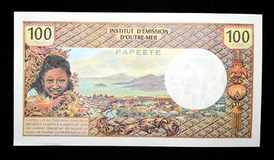 Scarce 1969 100 FRANCS BANKNOTE From TAHITI- PAPEETE, Crisp Uncirculated!