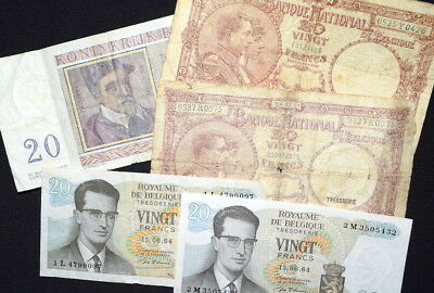 Lot of MIXED BANKNOTES From BELGIUM- 1940's; 1956 & 1964