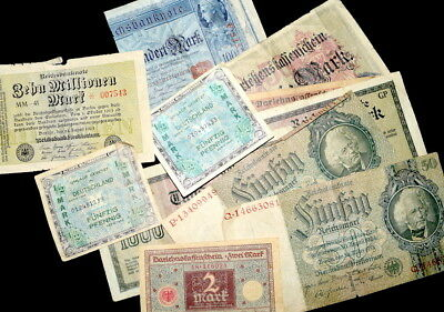 Lot of MIXED BANKNOTES From GERMANY- 1910's; 20's; 30's & 40's Allied Currency