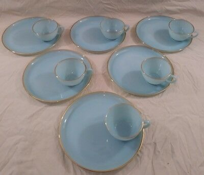 12pc Vintage Fire King Blue Hostess Snack Sets Turquoise Anchor Hocking 6 Set NR