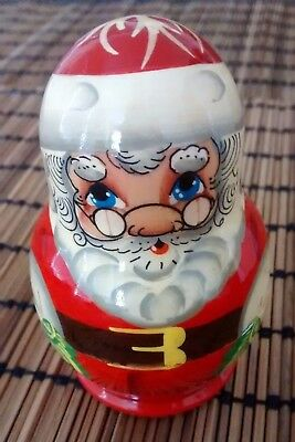 Wooden Matreshka Santa Christmas Decoration, so cute! Not a complete set