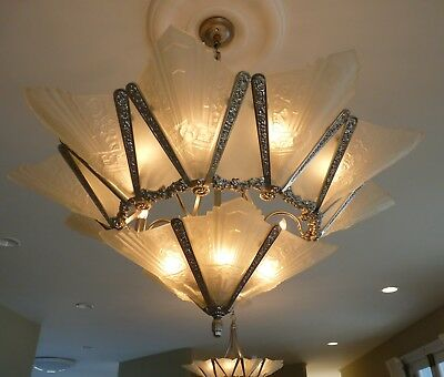 Art Deco Chandelier, French Marseille, Vintage Lighting Co, 1998 15 Lights.