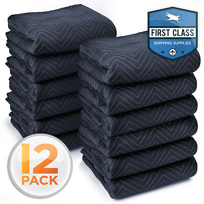 """12 Heavy-Duty 80"""" x 72"""" Moving Blankets 65 lb/dz Pro Packing Shipping Pad Bl/Blk"""