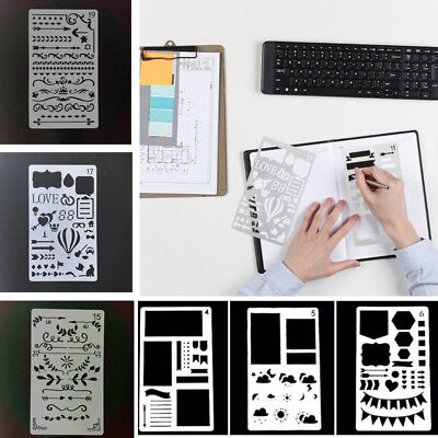 Drawing Template Bullet Journal Stencil Plastic Planner DIY Diary Craft AU