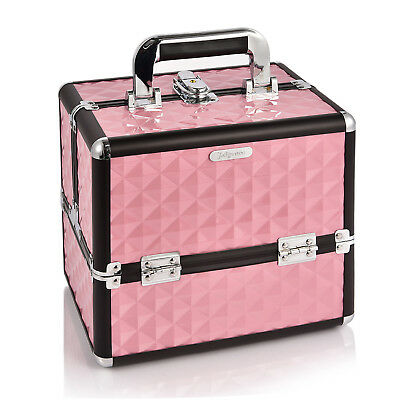 Professional Portable Cosmetic Beauty Box Makeup Case Carry Bag Organiser Pink