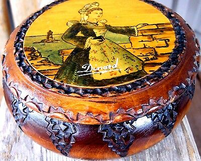 Antique French Wood Box Hand Carved & Painted Vintage Signed Folk Art Dinard