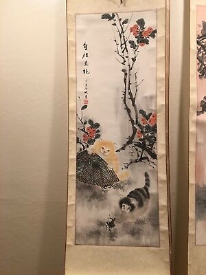 FINE OLD CHINESE HAND PAINTED PAINTING SCROLL Of cats and crab
