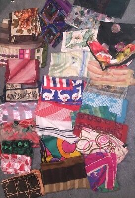 Lot Of 30 Vintage Neck Scarves Assorted Sizes, Materials, Brands, Colors