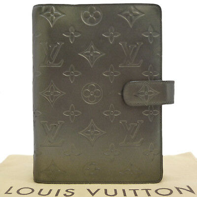 Auth LOUIS VUITTON Agenda MM Mat Day Planner Cover Gray Leather R20925 #S201067
