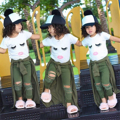 US Stock Toddler Kid Baby Girls Eyelash Tops T-shirt Hole Pants Outfits Clothes