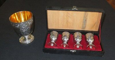 Silver-plated 4 cordial set in a case plus a goblet, vintage classic [623]