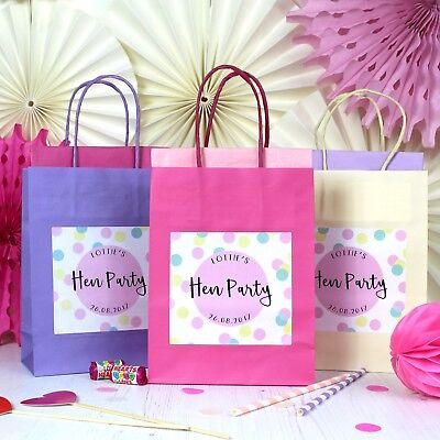 Hen Party Bag *Filled*  Spotty Personalised Gift Bags Favour Accessories