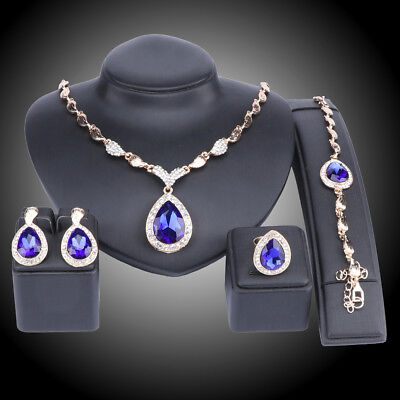 Women Bridal Party Zircon Crystal Wedding Earrings Necklace Ring Jewelry Sets