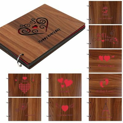 """Romance Gift Love Hearts Wood Photo Album 8"""" Memory DIY Photos Book for Him/Her"""