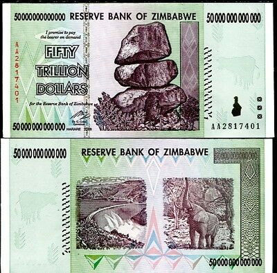 Zimbabwe 50 Trillion Dollars 2008 Aa P 90 100 Trillion Series Unc