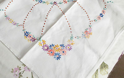 Fabulous Unused Vintage Hand Embroidered Linen Tablecloth