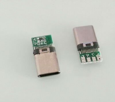 DIY 24Pin USB-C USB 3.1 Type C Male Solder Plug Connector SMT Type With PCB