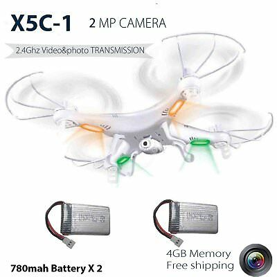 Quadcopter Drone X5C-1 RTF UFO 2.4G 6-Axis Gyro RC with 2MP HD Camera 2 battery