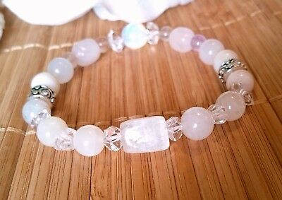 Archangel Gabriel Ascension Bracelet Morganite Moonstone Sacred Super 7 Kunzite