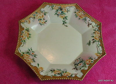"""La Seynie Limoges PP France (Hand Painted & Signed) 8 3/4"""" OCTAGONAL BOWL Exc"""