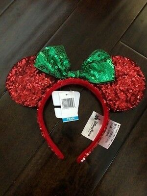 Minnie Mouse Sequined Christmas Holiday Ears Red Green Disney Parks NWT