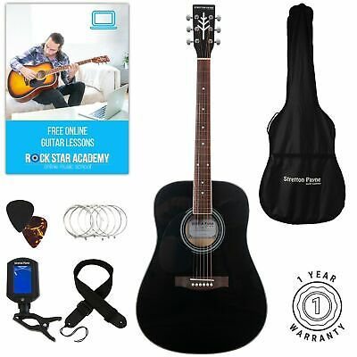 Stretton Payne LEFT HANDED D1 Acoustic Guitar Package, Steel String, Black