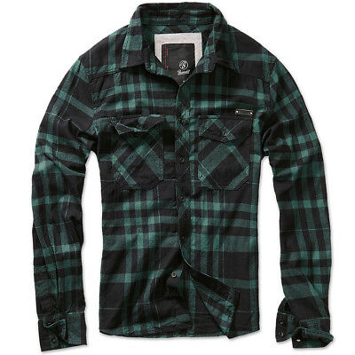 Brandit Check Shirt Fred Flannel Mens Retro Vintage Casual Cotton Black Green