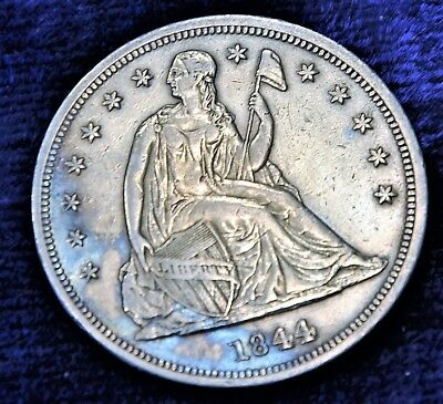RARE 1844 $1 Liberty Seated Dollar NOT GRADED Colorful Toned Blue AU AUTHENIC