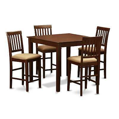 Mahogany Square Counter Height Table and 4 Counter Height Chairs 5-piece Dining