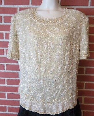 Plus size 20 Adrianna Papell Silk Beaded Blouse Formal Holiday Wear