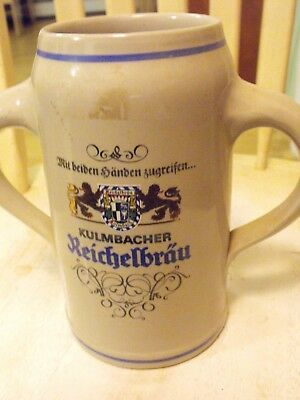 Kulmbacher Reichelbrau Stein Marked 1 Liter with 2 Handle German Mug