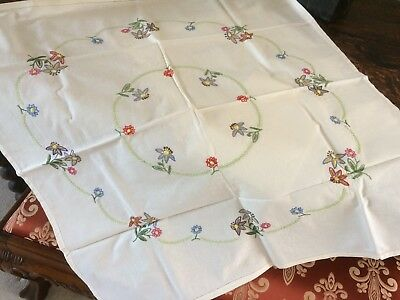 Vintage Hand Embroidered linen tablecloth - beautiful embroidery, never used