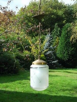Pretty Unusual vintage French brass lantern with frosted shade (1N)