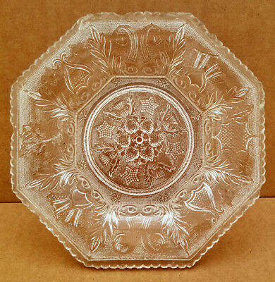 BOSTON & SANDWICH Flint Glass ANTIQUE LACY PERIOD OCTAGONAL PLATE Beehive Stars