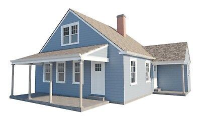 3 Bedroom House Plans w/ Loft DIY Home Building Project Guest Cottage 840 sq/ft
