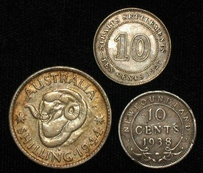 3 Silver Coins from the English Commonwealth.  1927-1944.   No Reserve!!