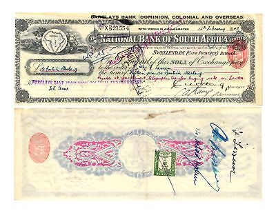 Rare 1947 Barclays Bank National Bank of South Africa Cape Province Old Check