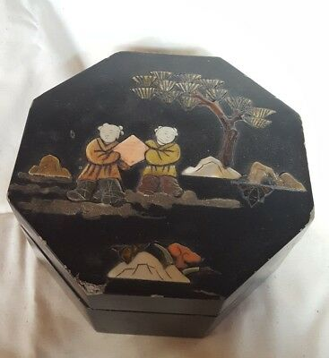 Vintage Asian INLAY WOOD MOTHER OF PEARL LAQUER BLACK BOX
