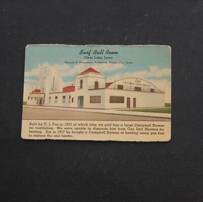 Iowa Advertising - Campbell System of Heating  - Surf Ball Room Clear Lake Iowa