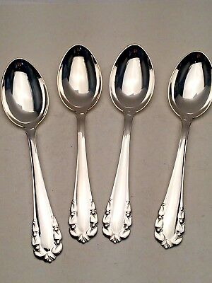 Lily of the Valley/ Rose Georg Jensen Sterling Silver 4 Oval Soup/ Dinner Spoons