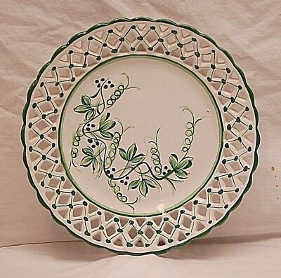 Vintage Hand Painted RCCL PORTUGAL Plate Green White Abstract Pierced Rim Signed