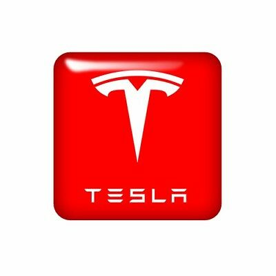 Tesla 25x25mm 3D Domed Sticker / Gel Aufkleber / Badge / Logo