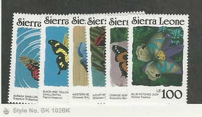 Sierra Leone, Postage Stamp, #861, 869-873 Mint NH, 1987 Butterfly