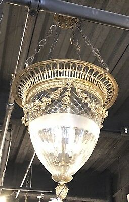 Great 19th Century French Bronze & Crystal Lantern Chandelier Draped Garlands