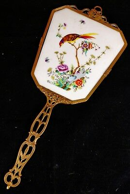 Antique 19th / 20th C FRENCH BRONZE & Chinese Export PORCELAIN Hand MIRROR